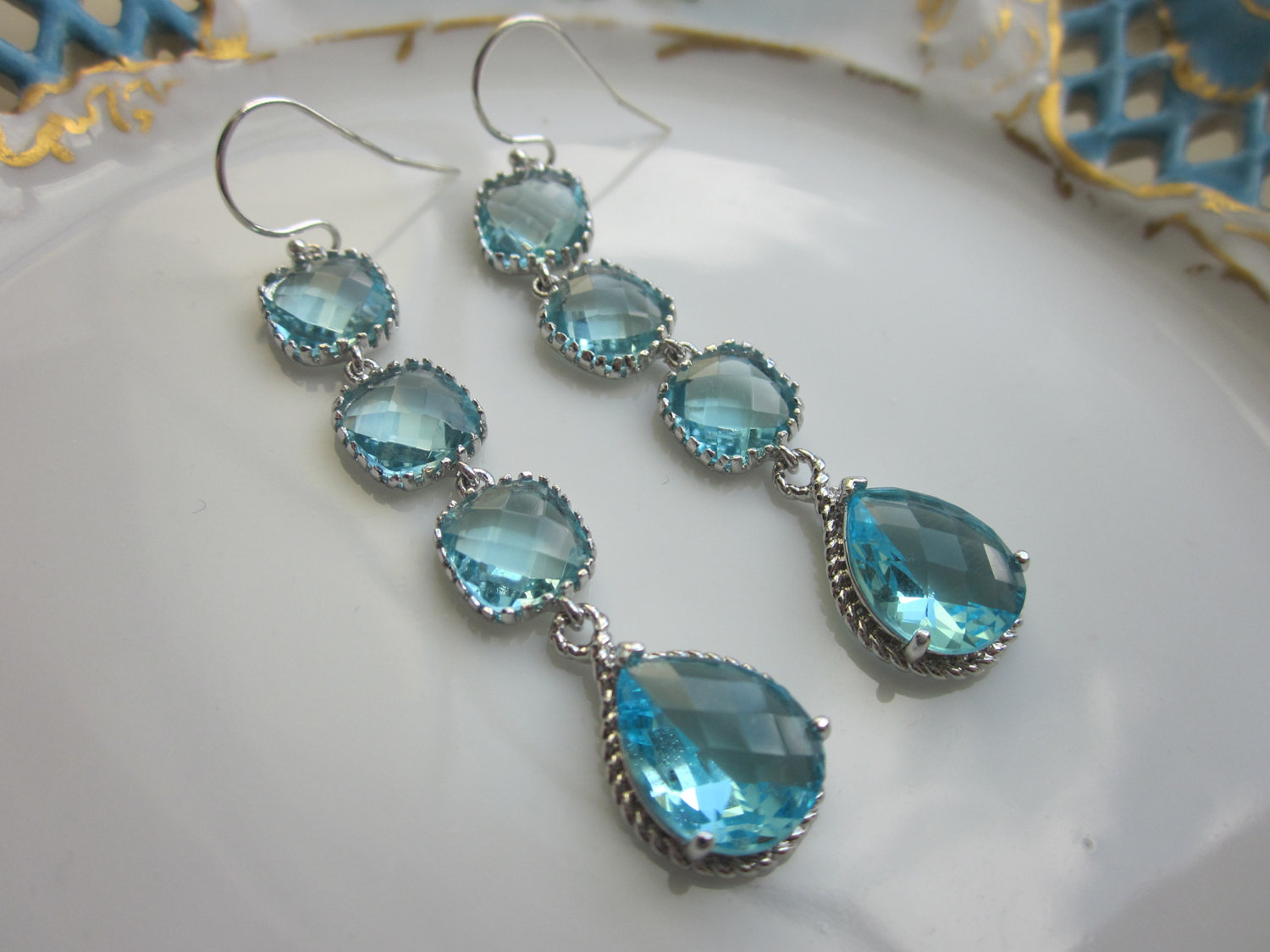Aquamarine Earrings Blue Aqua 4 Tier Sterling Silver Bridesmaid Wedding Bridal