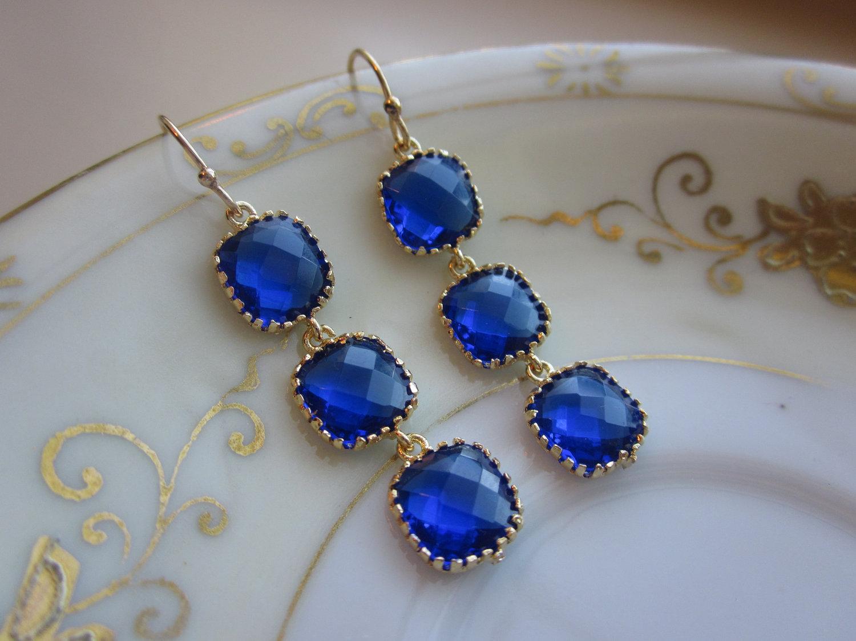 Cobalt Blue Earrings Gold Three Tier Blocks Wedding Bridesmaid Bridal