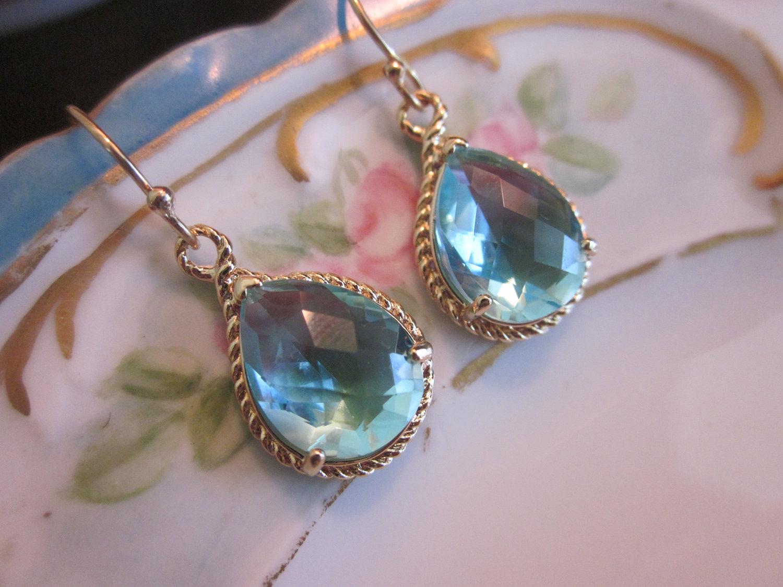 Aquamarine Earrings Gold Teardrop Gl Bridesmaid Wedding Bridal