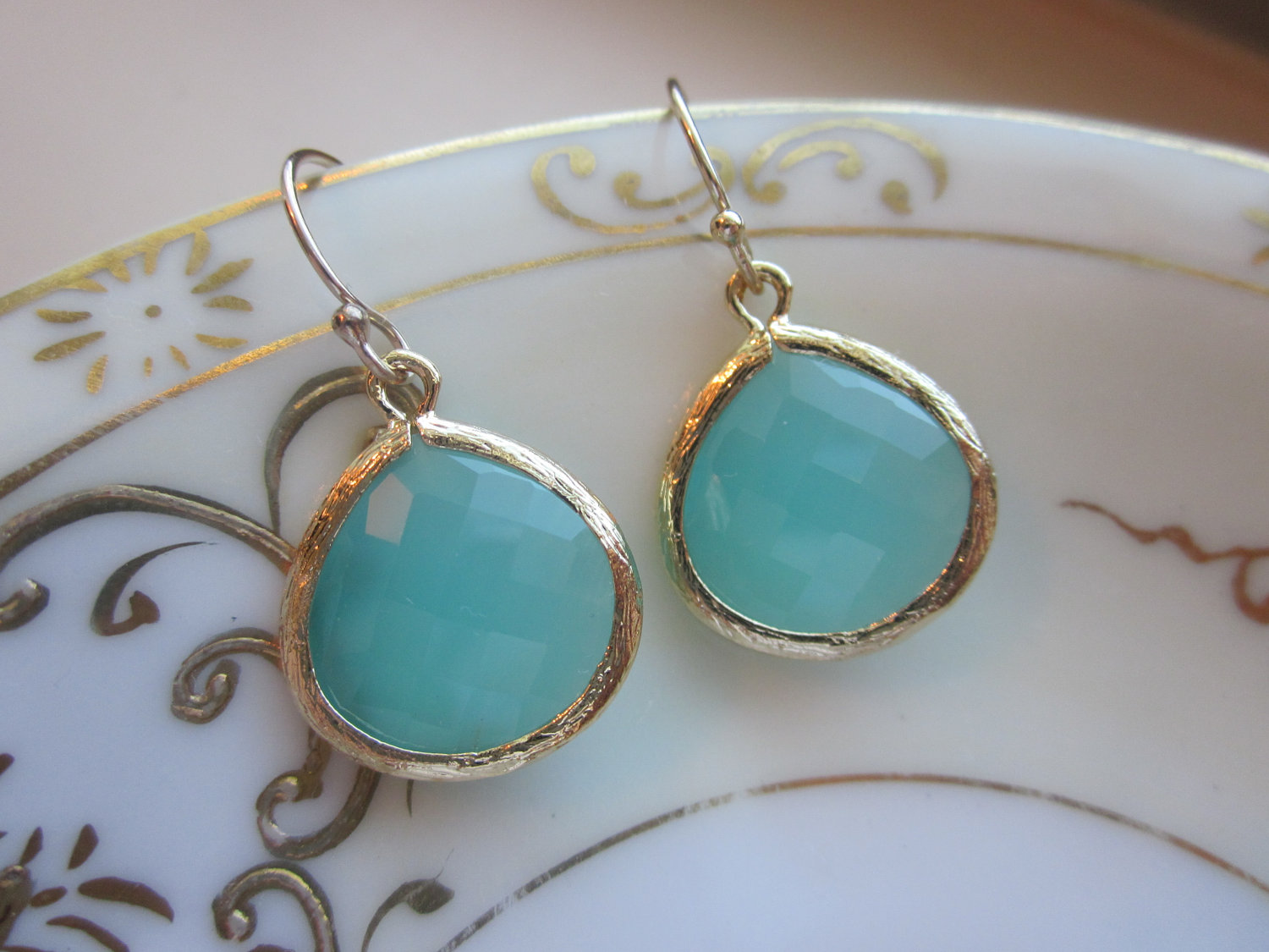 Pacific Aqua Earrings Blue Gold Large Gems Bridesmaid Wedding