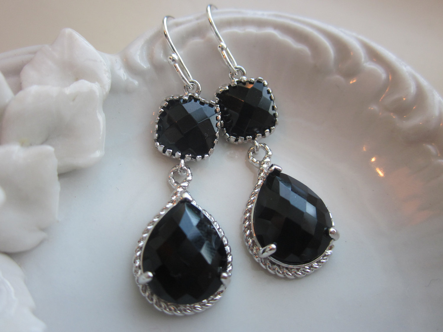 Black Earrings Onyx Silver Two Tier Teardrop Gl Bridesmaid Wedding Bridal