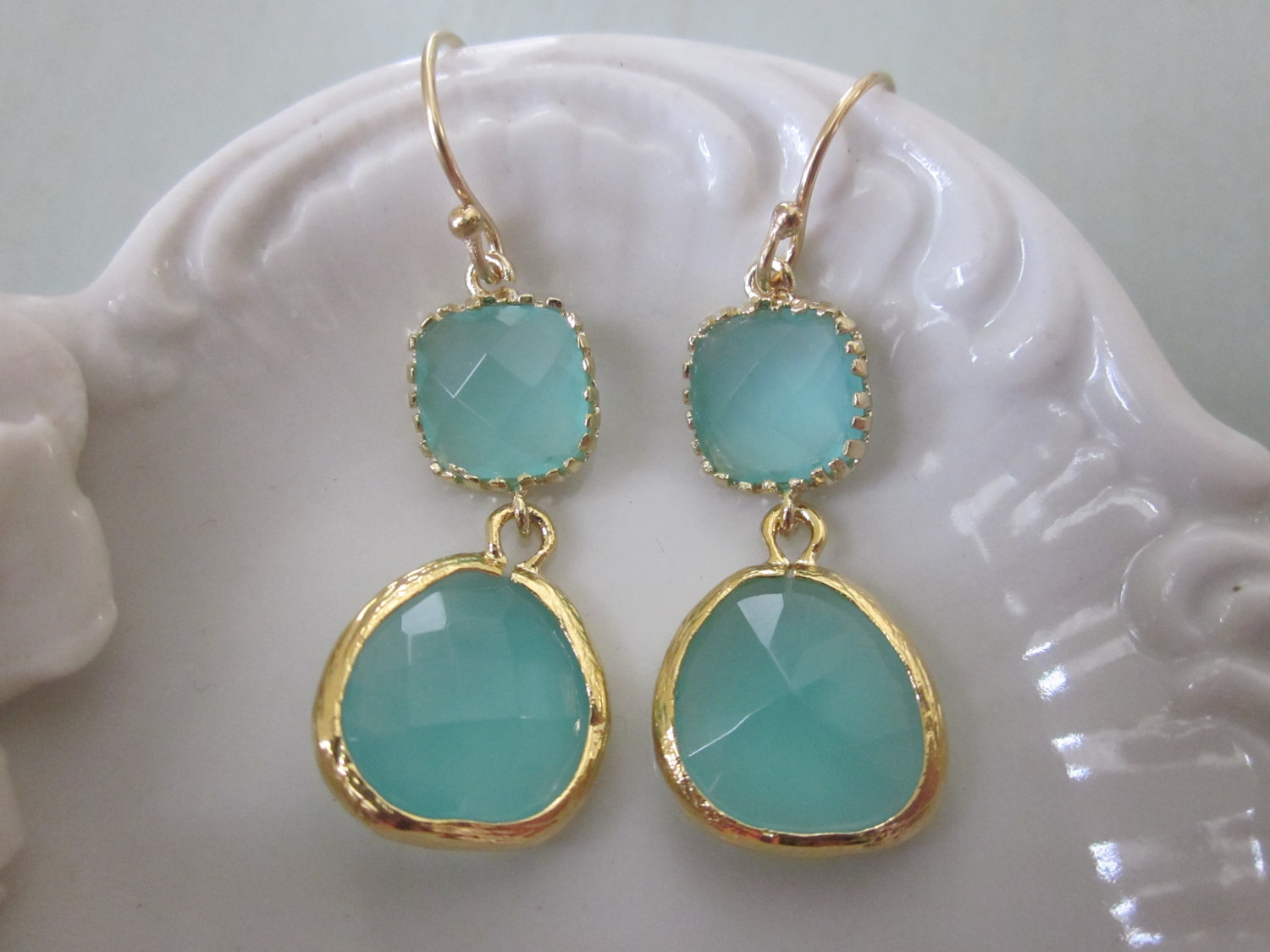 Aqua Blue Earrings Gold Bridesmaid Wedding Bridal
