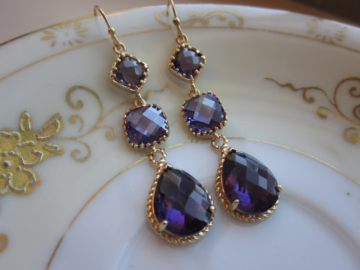Amethyst Earrings Purple Gold Three Tier Bridesmaid Earrings