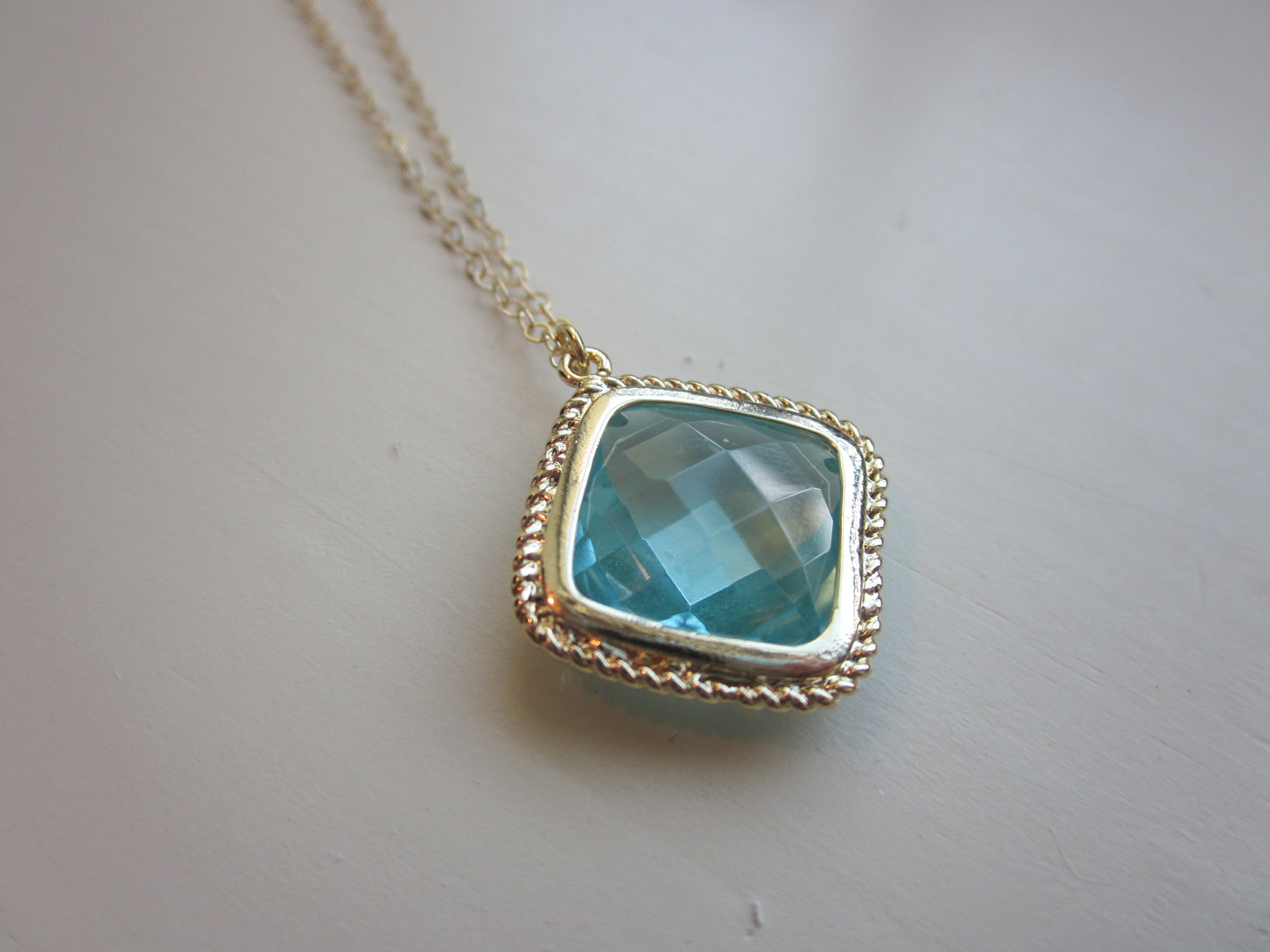 Aquamarine Necklace Gold Plated Aqua Large Diamond Pendant