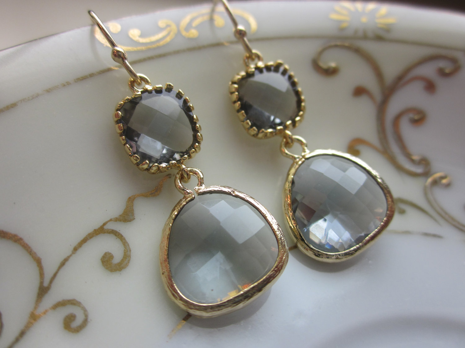 Charcoal Gray Earrings Gold Plated Two Tier
