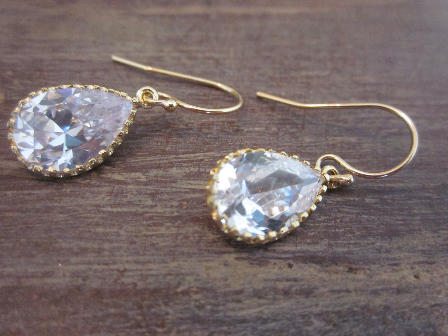 Crystal Earrings Briolette Gold Filled Earwires Plated Gl Gem Bridesmaid Bridal