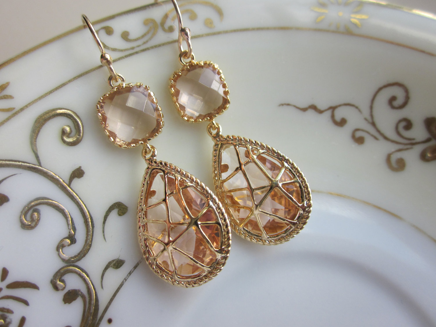 Champagne Peach Earrings Pink Gold Twisted Design